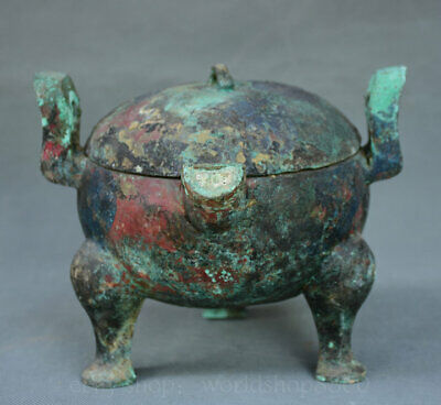 """7"""" Old Chinese Bronze Dynasty Palace Ware Vessel lid 3 Foot Handle Pot Jar Crock"""