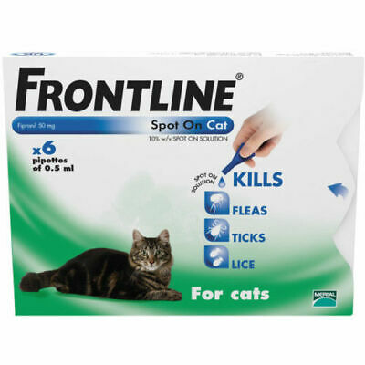 Front line Spot On for Cats 6 Pipettes Flea , Lice , Tick AVM-GSL