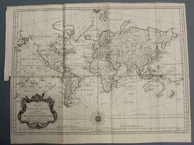 1748 Bellin Large Antique World Copper Engraved Chart On Mercator's Prohection