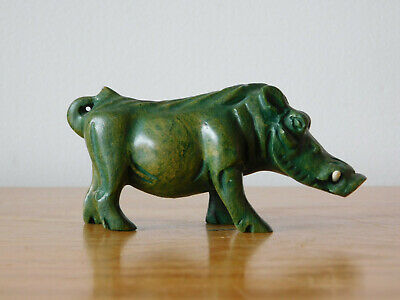 Antique Chinese Hand Carved Green Hard Stone Hog Figure - Qing