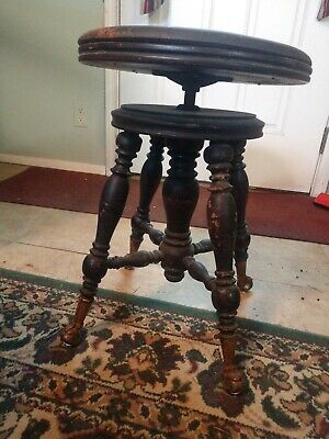 Antique Victorian Walnut Piano Stool H Holtzman & Sons Glass Ball & Claw Feet