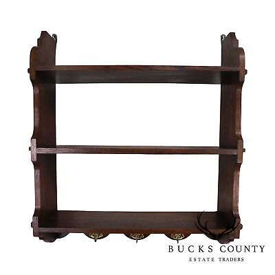 Antique Arts & Crafts Style Oak Hanging Wall Shelf