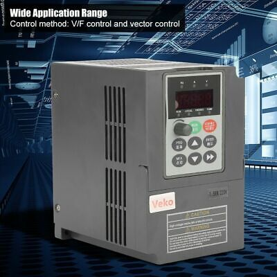 1.5kW 2HP Vector V/F VFD Frequency Inverter Converter 1-Phase 220V to 3-Phase