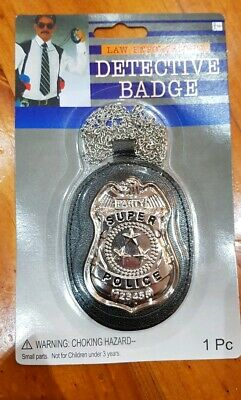 Fake FBI Detective Police Officer Badge On Neck Chain Costume Accessory party