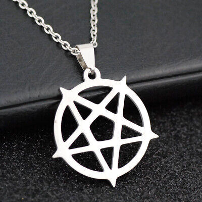 10pcs cool Inverted Pentagram satanism Pendant Stainless Steel chain Necklace
