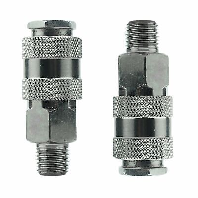 """2x Euro Air Line Hose Fittings Connector Female Quick Release 1/4"""" BSP Male"""