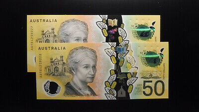 2018 $50 Fifty Dollar Lowe Fraser AA184239227-228 First Prefix Consec Pair UNC