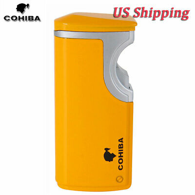 COHIBA Windproof 3 Torch Metal Cigar Lighter Butane Gas Jet Lighter w/ Punch