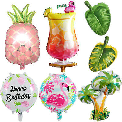 Foil Balloon Flamingo Tropical Leaves Pineapple Hawaiian Birthday Party Decor