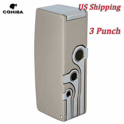 COHIBA Windproof  2 Torch Gas Cigar Lighter Metal Jet Refillable 3 Punch Lighter