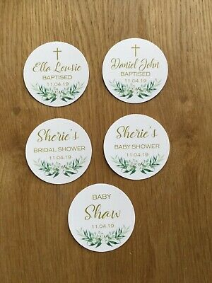 Floral Greenery Stickers ~ Personalised Birthday, Baby Shower, Bridal, Baptism