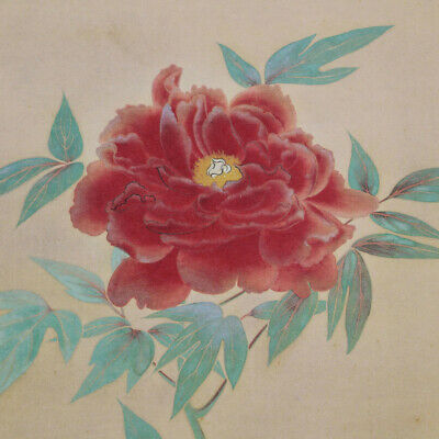 HANGING SCROLL JAPANESE PAINTING JAPAN PEONY FLOWER ANTIQUE VINTAGE PICTURE 183n
