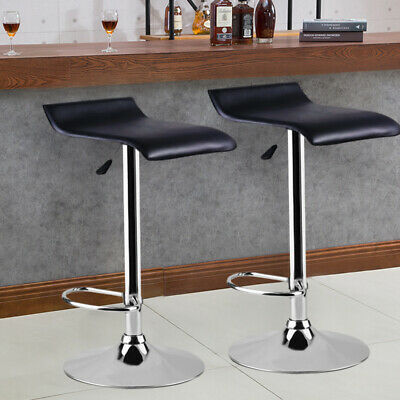 Set of 2 Kitchen Bar Breakfast Stools Gas Lift Chrome Base Swivel Dinning Chair