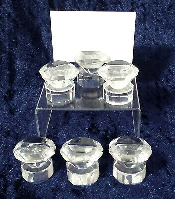 Set 6 x fabulous crystal /cut glass prism menu card holders / place name holders