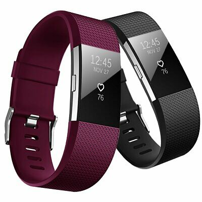 For Fitbit Charge 2 Replacement Silicone Bands Sport Women Small 2 Pack Large