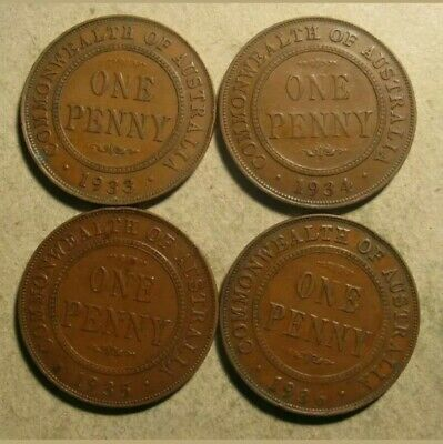 Australian KGV pennies, 4 different years from the 1930's (C87) refer notes