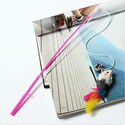 Kitten Cat Toy Mouse On A Rod Teaser Belling Feather Play Pet Dangler Wand