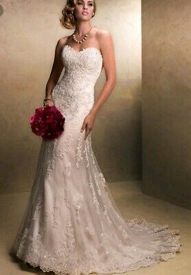 Maggie Sottero - Arlyn, size 12, lace ivory over nude wedding dress