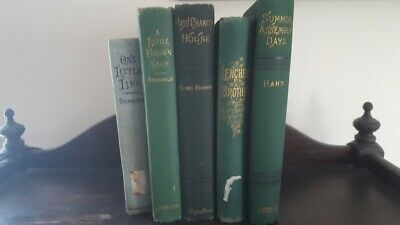 Lot of 5 Green early 19th Century Vintage Decorative Antique Books