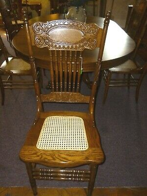 Antique Oak Larkin Chair #1  refinished 1908 cane seat restored Press back