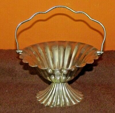 Vintage Silver Plated Scalloped Design Bonbon Dish With Handle