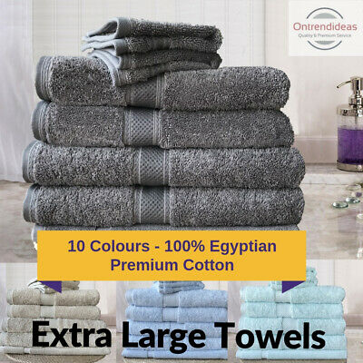 100% Premium Egyptian Cotton Extra Large Bath Sheet Towel Set | 7 or 14pc Sets