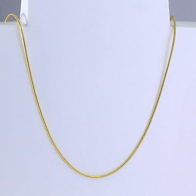 1mm High quality Unisex Real 18K Gold Filled Thin Snake Chain Necklace 24 inches