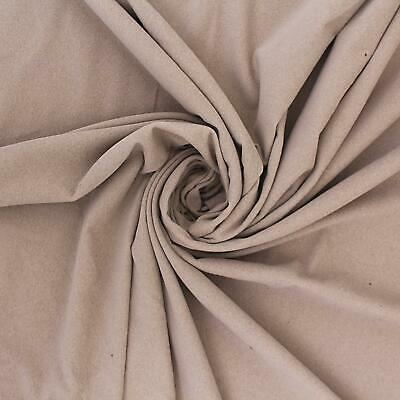 Conia Plain Faux Suede Look Velour Soft Beige Furnishing Upholstery Fabric
