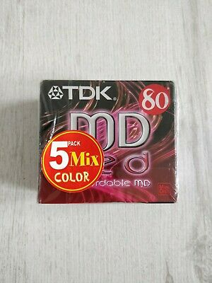 Sealed TDK MD 80 Recordable Minidisc x5 Colours