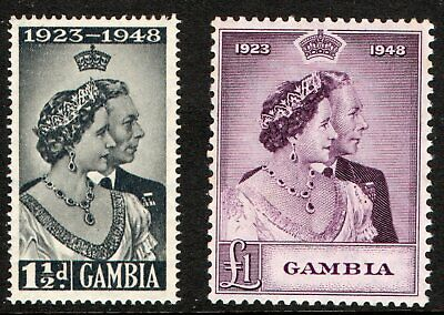 Gambia 1948 Sg164 - Sg165 ROYAL SILVER WEDDING. in P.O. Fresh mint never hinged.
