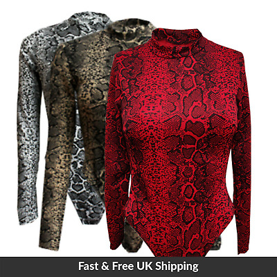 UK Womens Ladies Snake Print Long Sleeve Party Night Out Bodysuit ON TREND