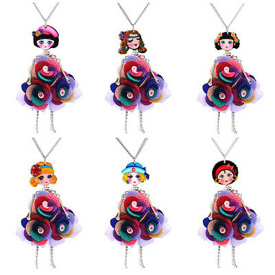 EG_ Cute Colorful Lace Flower Doll Pendant Sweater Chain Necklace Jewelry Gift L