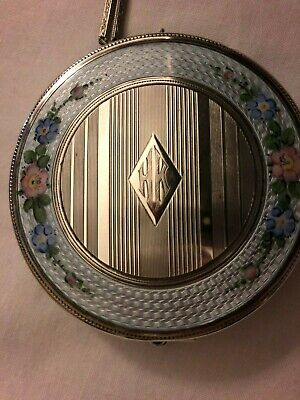 Enamel and Silver, ladies/dance compact, made by Elgin America.
