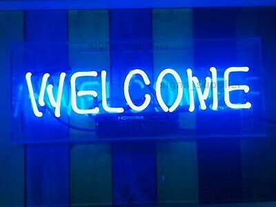 """New Welcome Triangle Neon Light Sign Pub Artwork Beer Decor Acrylic Box 14"""""""