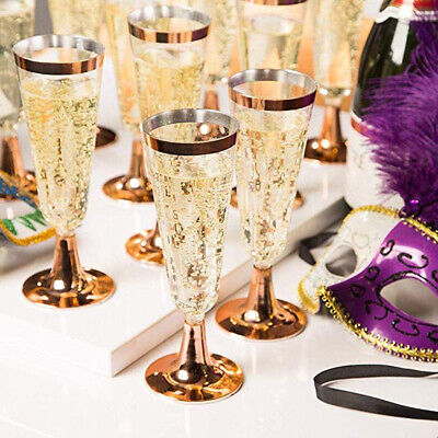 Disposable 6 Count Wedding Plastic Wine Clear Champagne Flutes Glasses Cups