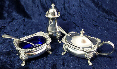 Georgian-style silver plated 3-piece cruet set - open salt, mustard & pepperette
