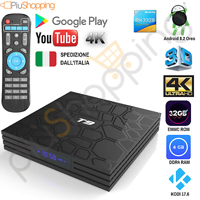Smart Tv Box T9 Pro Android 8.2 Oreo Rk3328 4Gb Ram 32Gb 4K Iptv 5 Core Wifi