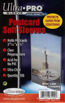 "3000 Ultra Pro Postcard Post card cards Soft  Sleeves 3 11/16 "" X 5 3/4 "" new"