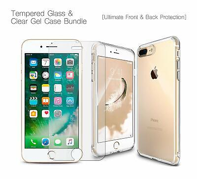Clear Case Cover Gel and Tempered Glass Screen Protector For iPhone 5 SE 6 7 8