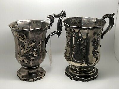 (2) Victorian Silver Mugs Flower Etched Gifted Mugs Dated 1901