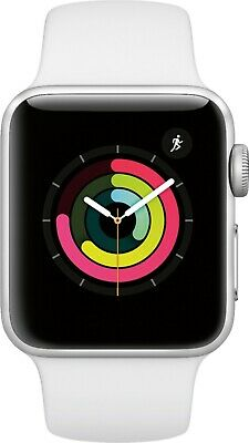 NEW APPLE WATCH SERIES 3 38mm SILVER ALUMINUM CASE WHITE SPORT BAND MTEY2LL/A