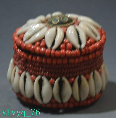 Old Chinese Tibetan red agate turquoise tooth jewelry box