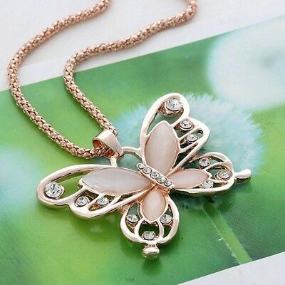 Women Rose Gold Opal Butterfly Charm Pendant Long Chain Necklace Jewelry Fashion