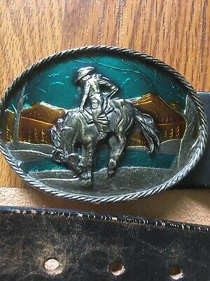 Cowboy Horse Great American Buckle Co. Leather. Vtg. Belt Buckle Western Wear 34