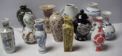Franklin Mint Miniature Japanese Vases x 12, 1980