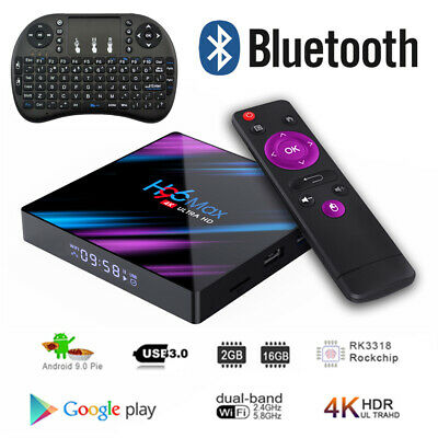 Lot H96 Max TV Box 16G Android9.0 Dual WiFi RK3318 Quad Core 4K Player+Keyboard