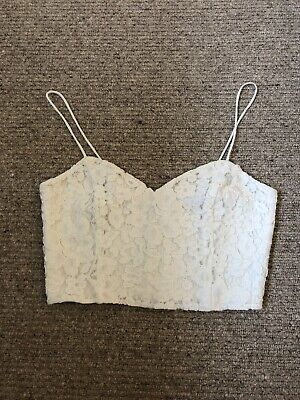 42f4effa28f TOPSHOP PETITE WHITE Mesh Floral Cropped Top Size 8 - £0.99 ...