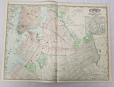 Antique Rand Mcnally and Co Colored Lithograph Map Brooklyn New York City