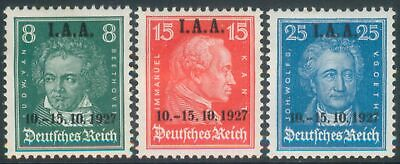 German Reich 1927 Mi 407-409 Famous Germans definitives o/printed for IAA unused