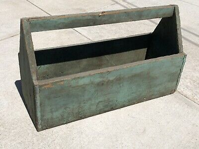 """Old Vintage Antique 24"""" Wooden Carpenters Tool Box Primitive Carrying Tote Caddy"""